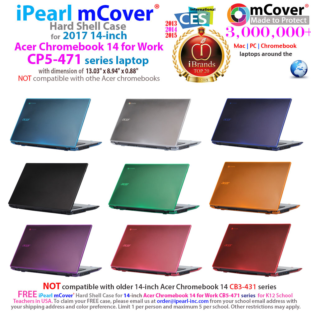 mCover Hard Shell case for 	Acer Chromebook 14 for Work CP5-471 series