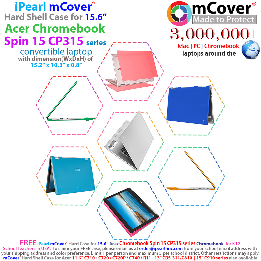 mCover Hard Shell case for Acer Chromebook Spin 15 CP315 series chromebook