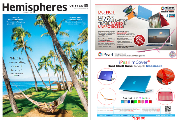 View our ads at United Airline Inflight magazine                   with 10% off coupon code
