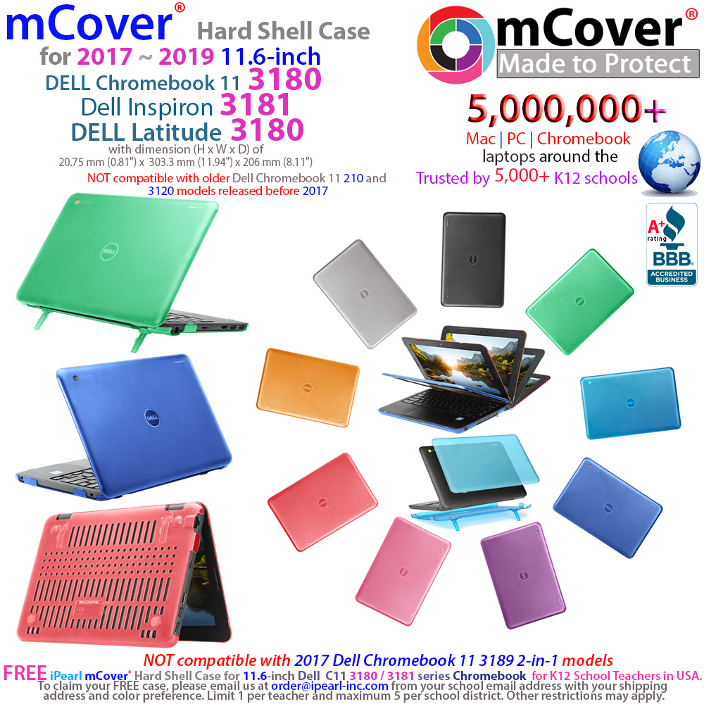 "mCover Hard Shell case for 	Dell 11.6"" series Chromebook 11 3180 ( released in early 2017 )"