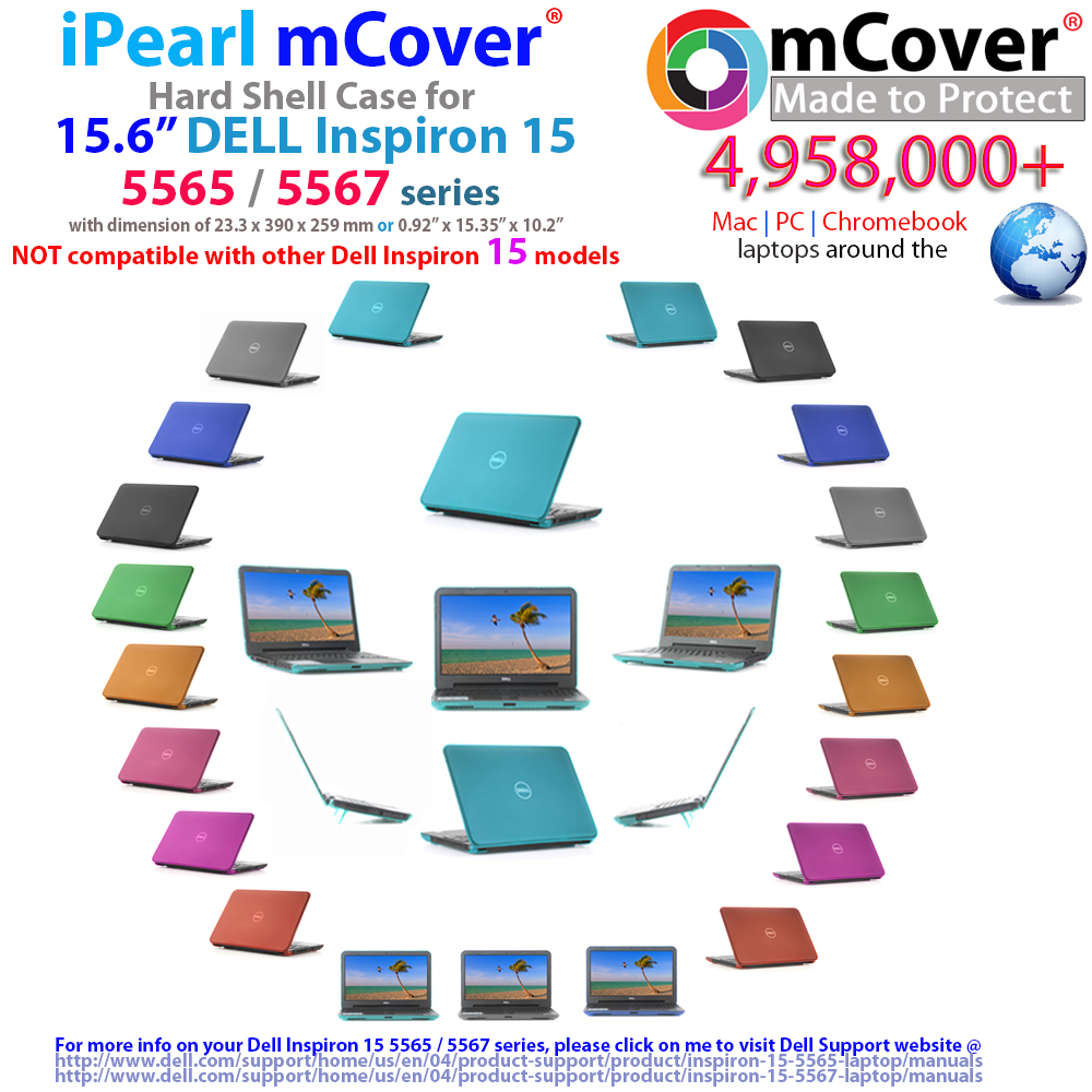 "mCover Hard Shell case for 15.6"" Dell Inspiron 15 5565 5567 series"