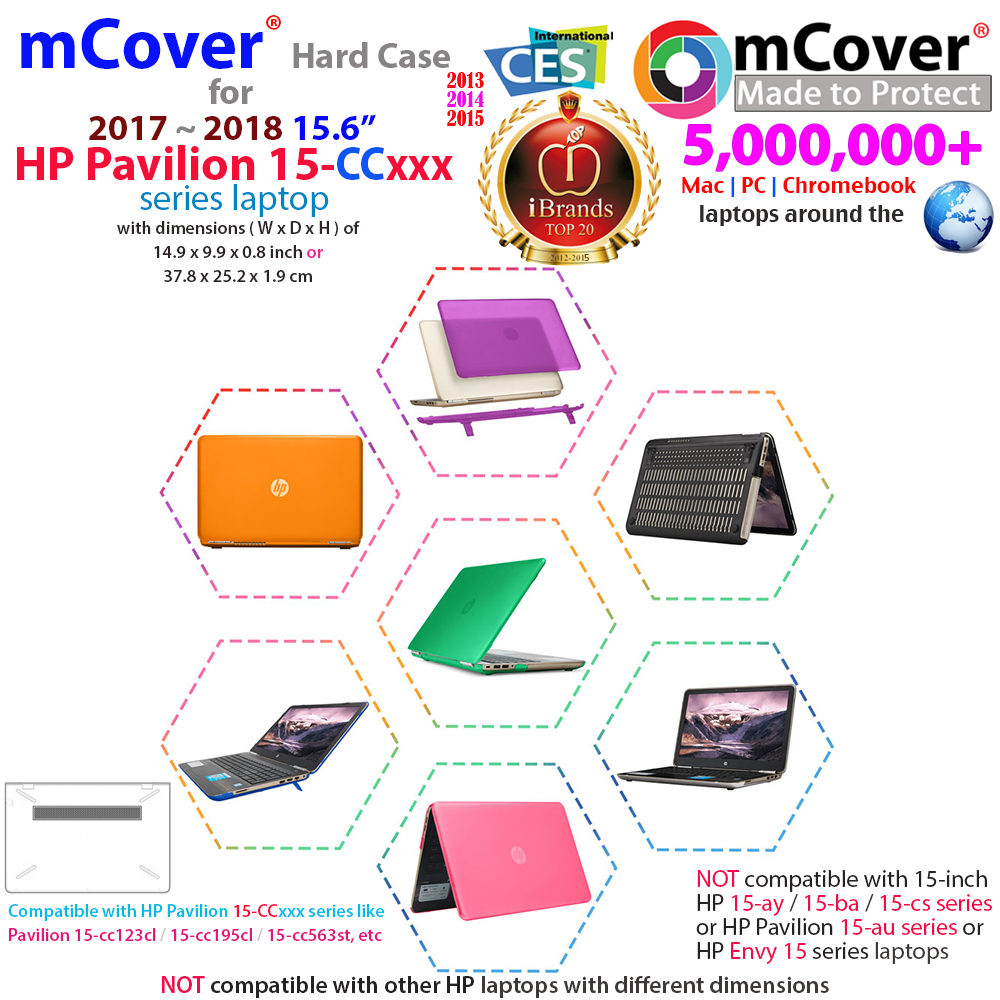 "mCover Hard Shell case for 15.6"" HP Pavilion 15-cc000 series"