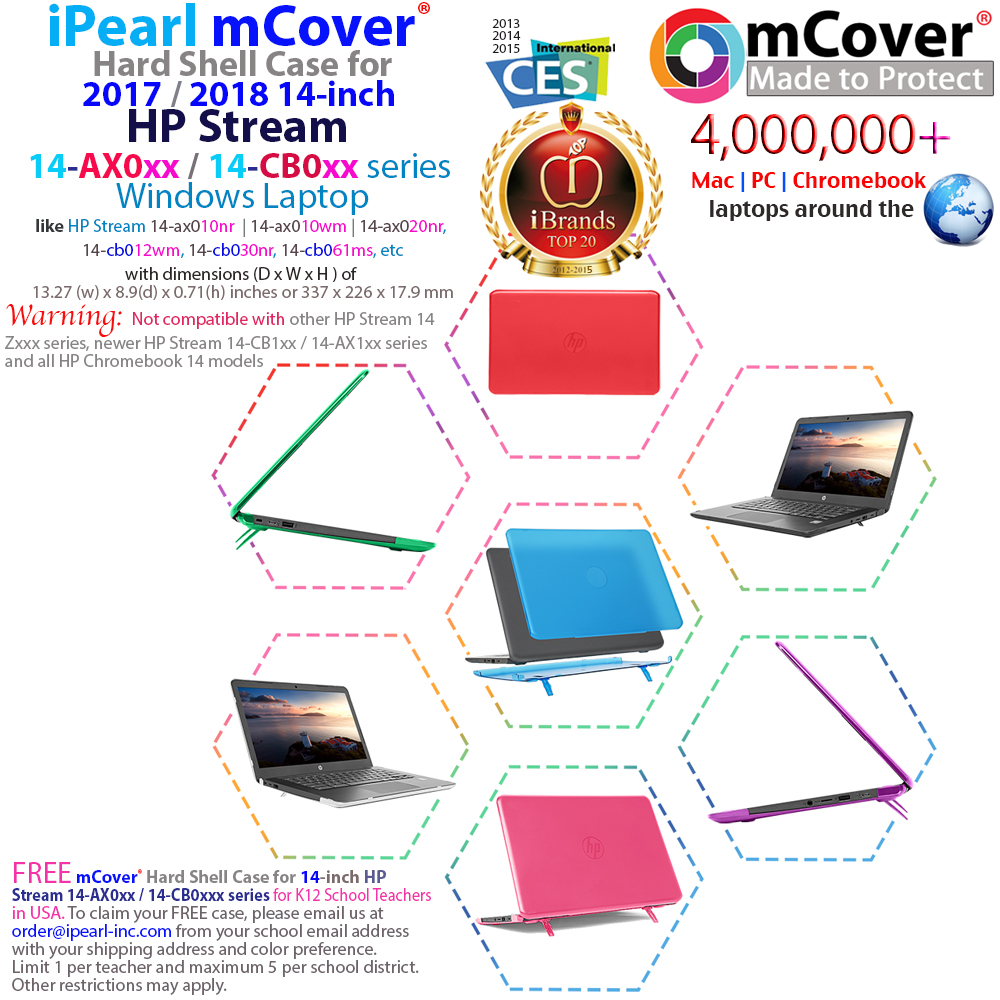 "mCover Hard 	Shell case for HP Stream 14 AX000 series 14"" 				Windows Laptop and HP Chromebook 14 G3"