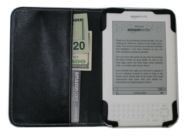 Black leather case for Amazon Kindle 3 ( WIFI & 3G ) 6-inch reader