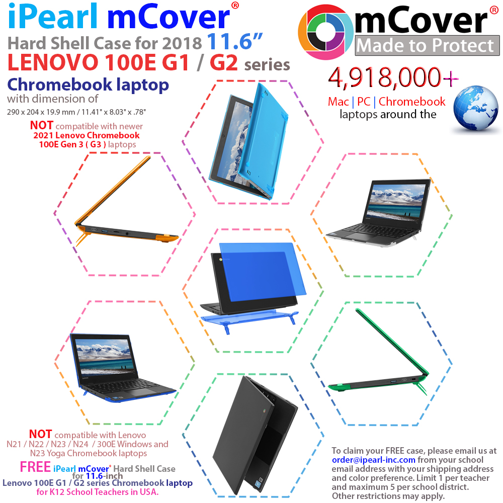 mCover Hard Shell case for Lenovo 100E series Chromebook laptop