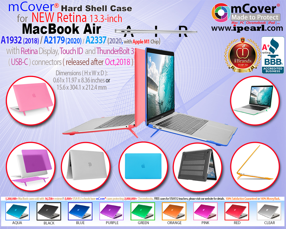 mCover® case for MacBook Air A1932 13-inch with Retina Display and  Touch Bar