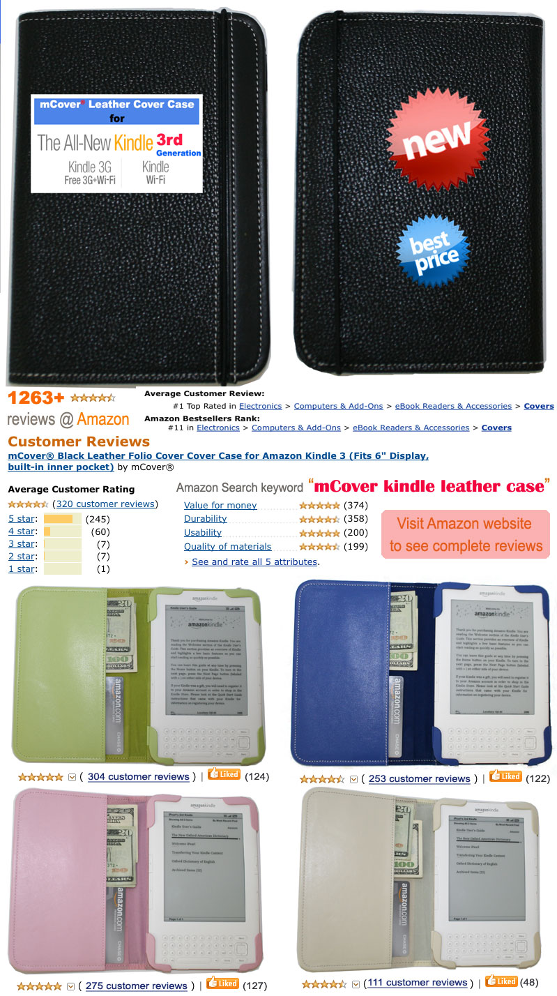 mcover leather case for Amazon Kindle 3
