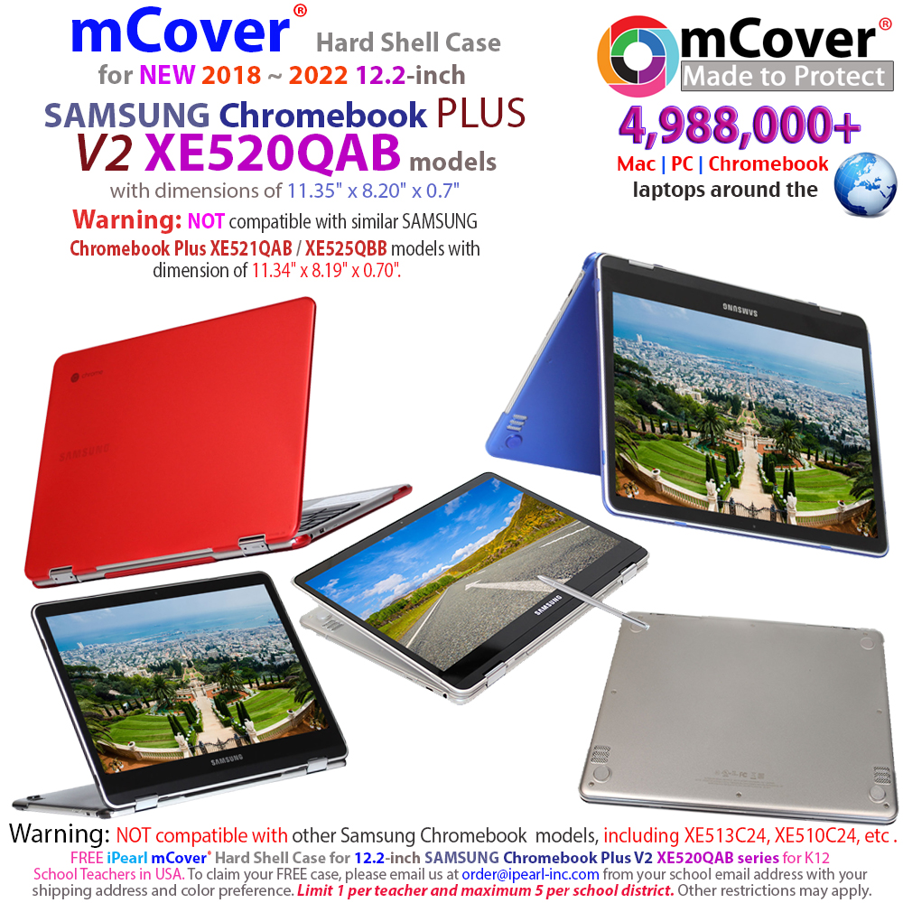 mCover Hard Shell case for Samsung Chromebook Plus V2 XE520QAB 12.2-inch