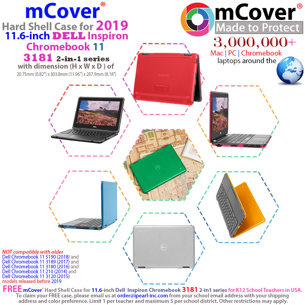 """mCover Hard Shell case for Dell 11.6"""" series Chromebook 11 3181 ( released in early 2018 )"""